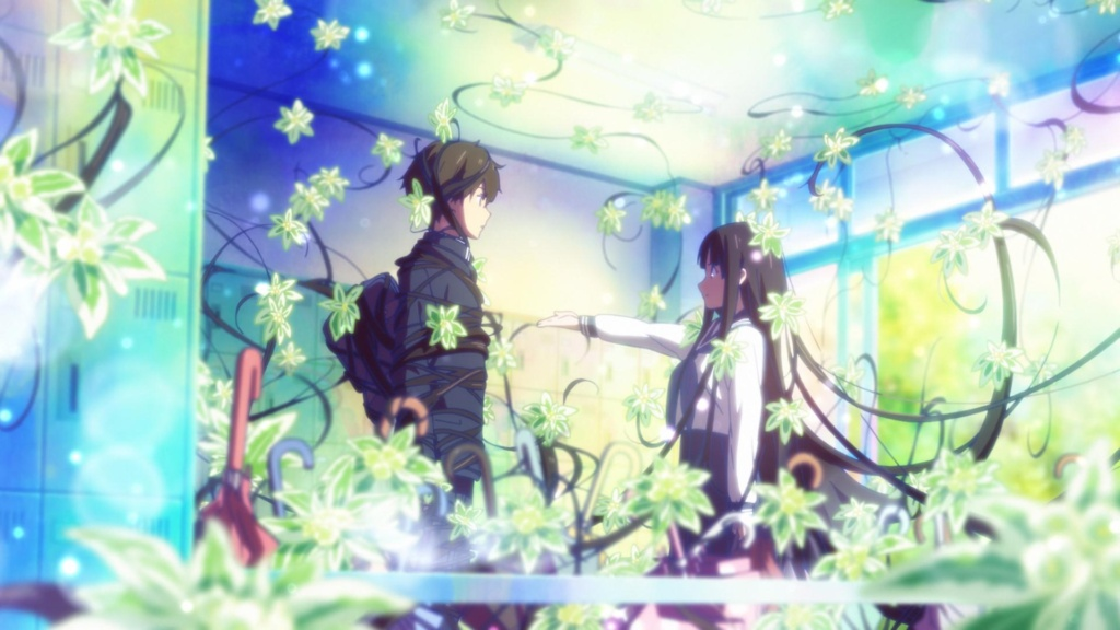 Oreki and Chitanda surrounded by green flowers