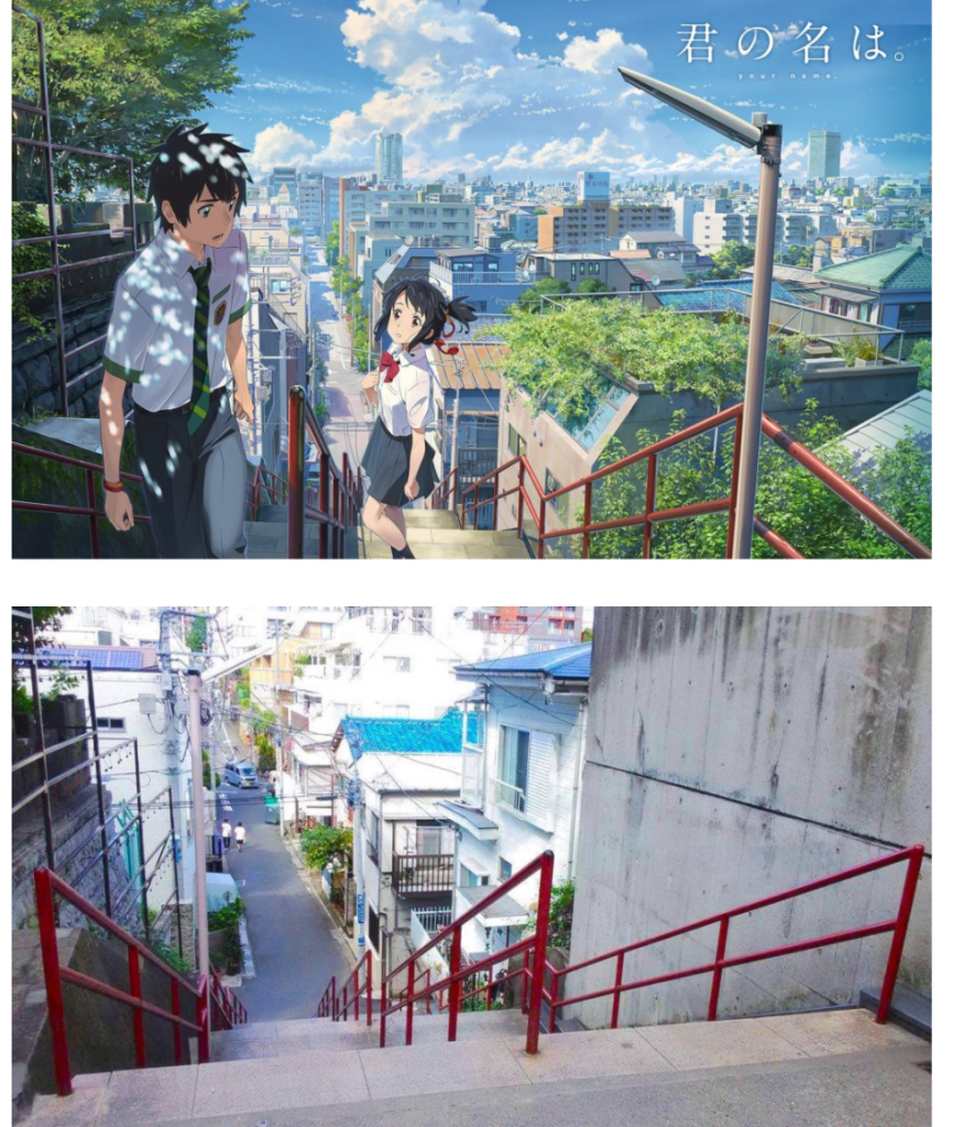 Your Name famous stairs side by side comparison: anime vs. real life