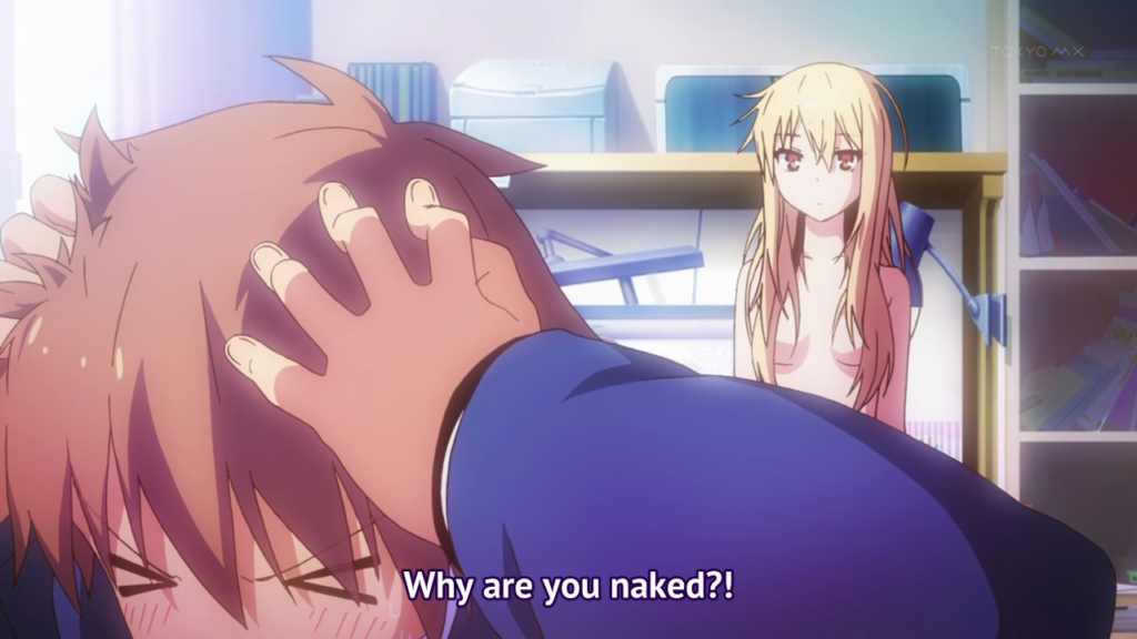 "Shiina Mashiro (naked) and Kanda Sorata in the same room with the subtitle: ""Why are you naked?!"""