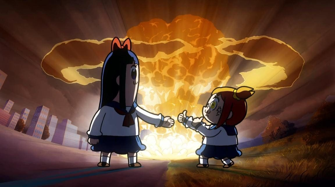 Pipimi and Popuko doing a Your Name parody with a nuke