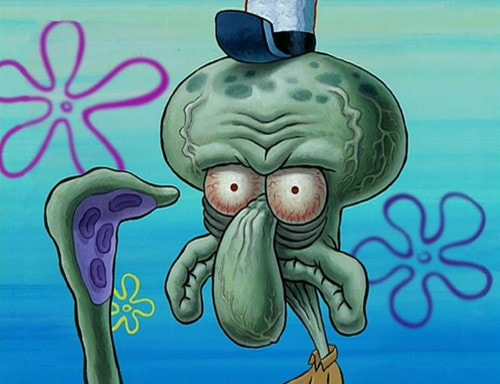 Squidward close up ugly face